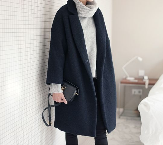 NAVY COAT + SWEATER