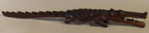 Vintage-Hand-Carved-Wooden-Crocodile-Mouth-Open-Teeth-Bared-12-5-Inches-Long
