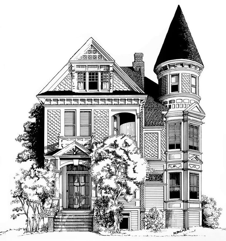 victorian houses san francisco black white DRAWING - Google Search