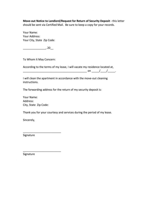 Browse Our Example Of Letter Of Intent To Vacate Apartment Template Being A Landlord Move Out Notice Lettering