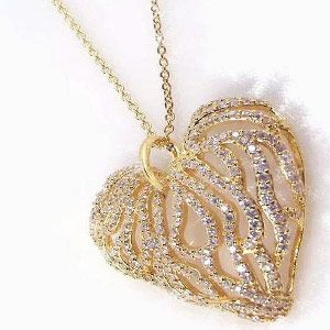 $150.75 - Gold Plated Diamond Cubic Zirconia Heart Necklace