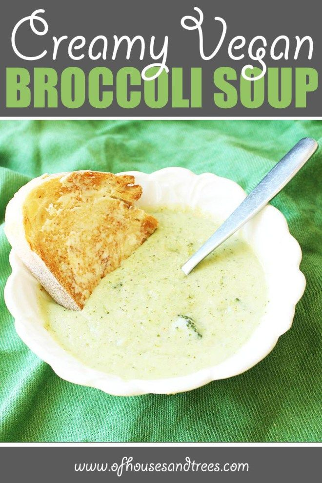 Healthy Broccoli Soup | Thick and creamy vegan broccoli soup... without the cream. Safe for vegans, lactose-intolerants and calorie counters alike. And it's delicious too! Click through to read more on this project as well as posts about architecture, interior design and sustainability at www.ofhousesandtrees.com.