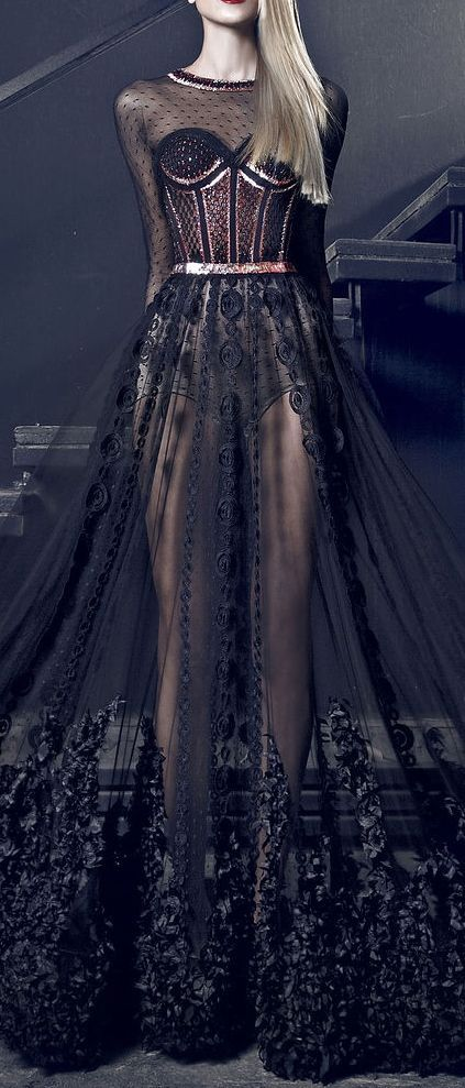 Nicolas Jebran Couture Fall/Winter 2014-2015.  Court of nightmares attire