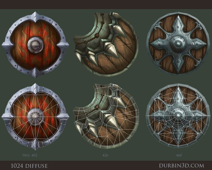 3 Hand painted shields by ~JerkDrive on deviantART