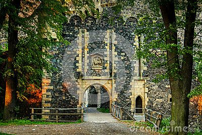 Old gate of stone into castle. Europe. Poland