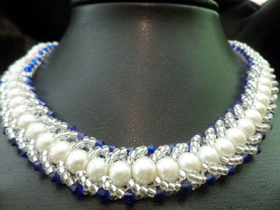 Flat spiral in pearls and crystals