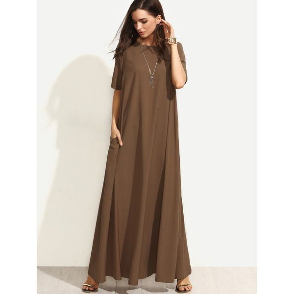 SheIn(sheinside) Zipper Back Full Lenth Swing Tee Dress ($20) ❤ liked on Polyvore featuring dresses, brown, t-shirt dresses, short-sleeve dresses, t shirt dress, pocket dresses and tee shirt maxi dress