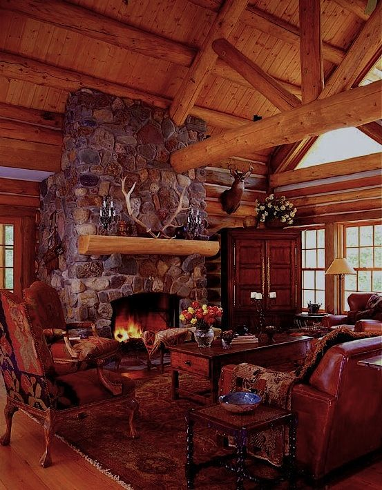 enchanting log cabin cozy living rooms | 28 best images about log cabin rooms on Pinterest | Rocky ...