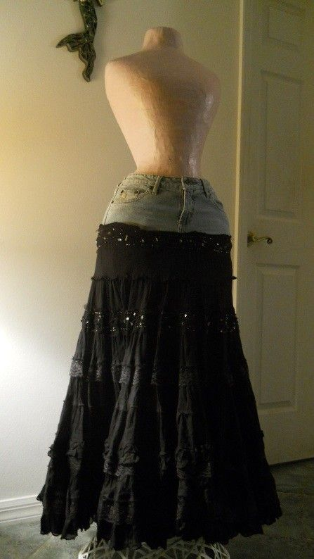 Esméralda bohemian jean skirt black lace ruffled frilly frou frou gypsy sequins Renaissance Denim Couture boho chic. $88.00, via Etsy.