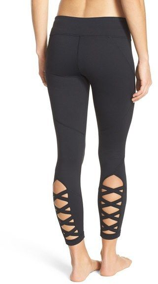 Super cute and comfortable leggings with lattice detail. Zella 'Lattice' Crop Leggings