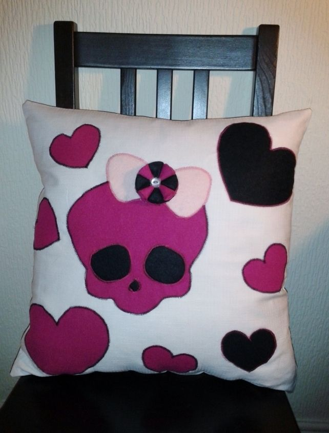 Skull and Heart Appliqué Cushion  £15.00