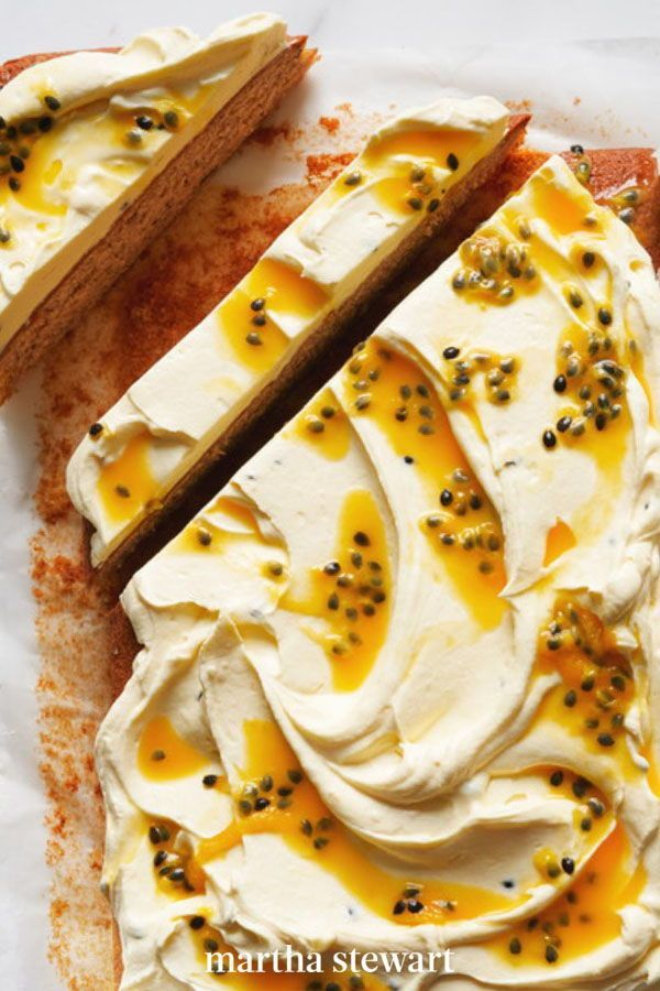 Passion-fruit juice, made by pressing the pulp through a sieve, goes into the cream-cheese frosting for a fresh and naturally intense taste, and a pastel tint to this topping for this gorgeous sheet cake. #marthastewart #recipes #recipeideas #dessert #dessertrecipes