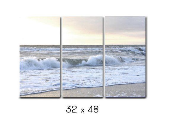 3 Piece Wall Art Beach Canvas Photography White Grey Ocean Canvas Split Extra Large Wall Art Try