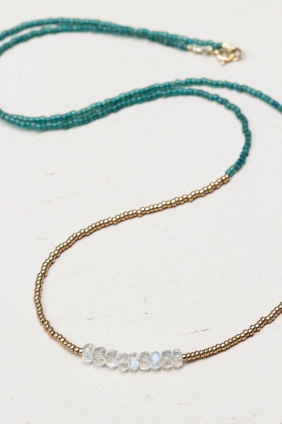 Seed Bead Rainbow Moonstone Multi Wrap by GummyRubyJewelry