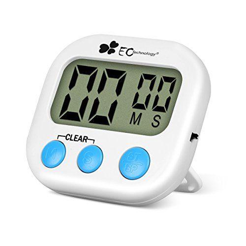 Minuterie de Cuisine EC Technology Minuteur Électronique Magnétique Cuisine Minuteur Compte-Temps de Cuisine avec LCD Écran, Alarme Sonore,…