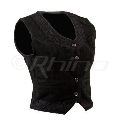Crochet vest in black suede