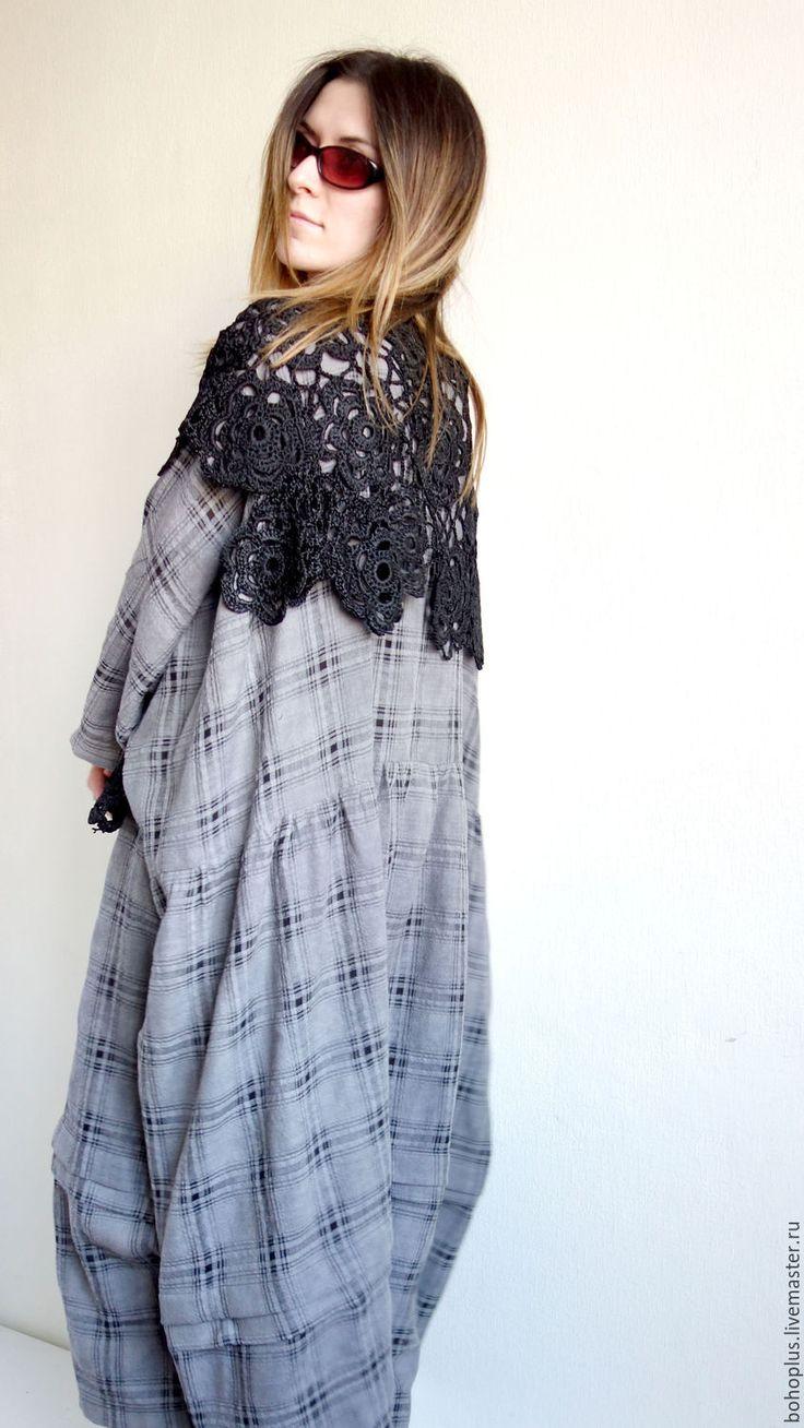 """Купить Платье в стиле бохо шик """" Дания М"""" - в клеточку, платье бохо"""