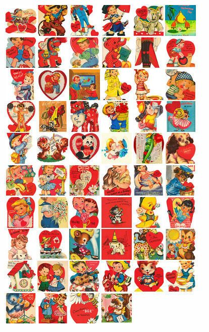 vintage valentine's. Large, downloads! Many of these are familiar and I used them when a child. Oh how I remember how much I deliberated over each decision about  which valentine was just right for each of my classmates!