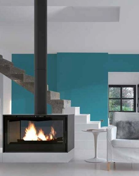 I1000PDF - DOUBLE FACE Wood-burning Central stove by Axis