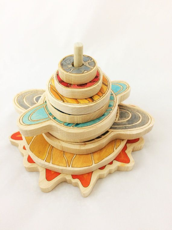 Wooden stacking toy – solar system stacker – educational gift -christmas gifts -gift for kids -solar system toy-wooden stacker-toddler toy