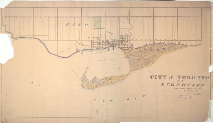1834 Chewett City of Toronto and Liberties. The first 'official' map of the incorporated city. In [March] 1834 the City of Toronto was incorporated with boundaries extending far beyond those of the old Town of York. The city was divided into five wards: St. Patrick's, St. George's, St. David's, St. Lawrence, St. Andrew's. Liberties were attached to each ward for the growth of the ward or the creation of new wards...