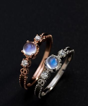 stunning rose gold plated 925 silver blue moonstone dainty promise ring for girlfriend