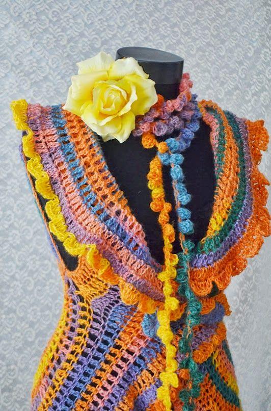 Esarfa crosetata Summer Colours (45 LEI la irinaindira.breslo.ro)