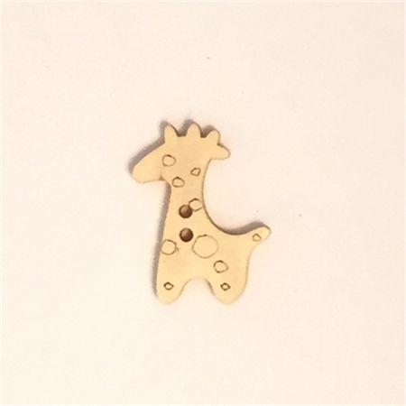 15 Natural Wooden Giraffe Buttons