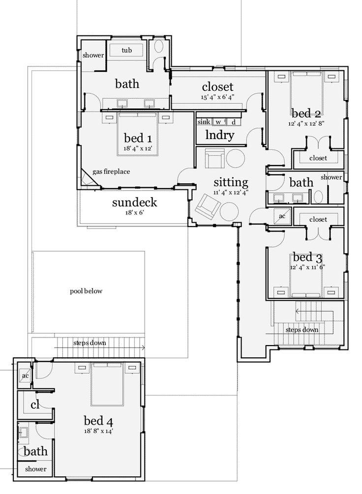 Second floor plan of florida mediterranean modern house plan 70803