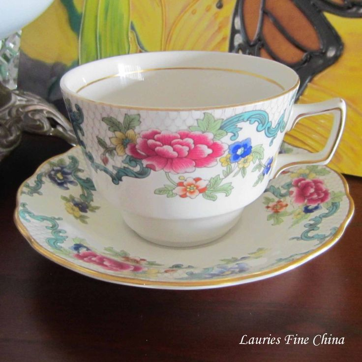 Free Shipping Royal Doulton FLORADORA TC1127 Booths Flat Tea Cup and Saucer - Made in England by LauriesFineChina on Etsy