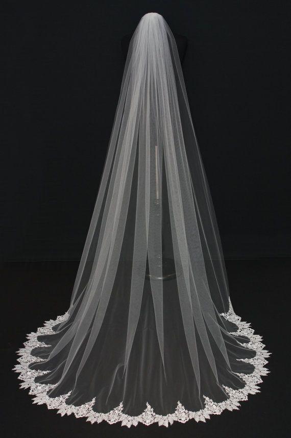 Venise Lace Veil Crochet Lace Schleier Spitze am Saum Dom
