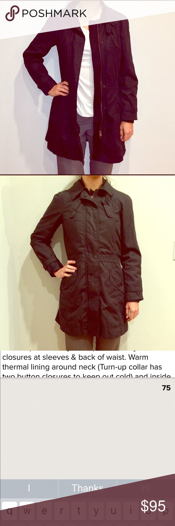 """Armani Exchange Utility Jacket Armani Exchange Utility Jacket features Trendy Chic yet Classy & Classic Style. Detachable fleece lining for warmth in chilly weather. Snaps and zips in front. Two breast pockets snap closed & two extra Roomy hand pockets. Adjustable waist belt in back. Adjustable button closures let you wear collar up or down. Model is 5'9"""" tall for reference. Roomy enough to wear with thick sweater (Shown) or with a lighter (Shown) Perfect Multi Season Jacket. Armani Exchange…"""