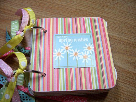 Spring Premade Mini Scrapbook Album Spring Mini by HampshireRose, $30.00