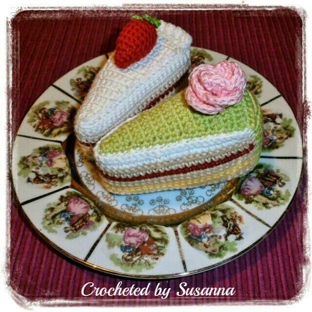Crochet Cake - Virkade Tårtbitar - Crocheted by Susanna