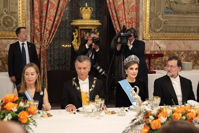 Queen Letizia of Spain and Mauricio Macri, and the Prime Minister of Spain, Mariano Rajoy Brey. Gala Dinner in honour of Argentina's President Mauricio Macri and his wife at the Royal Palace on February 22, 2017 in Madrid, Spain.