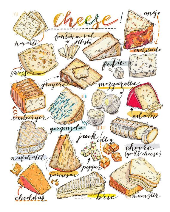 For the love of cheese- check out this cheese print for kitchen decor. Food art by LouPaper. #betterandbetter