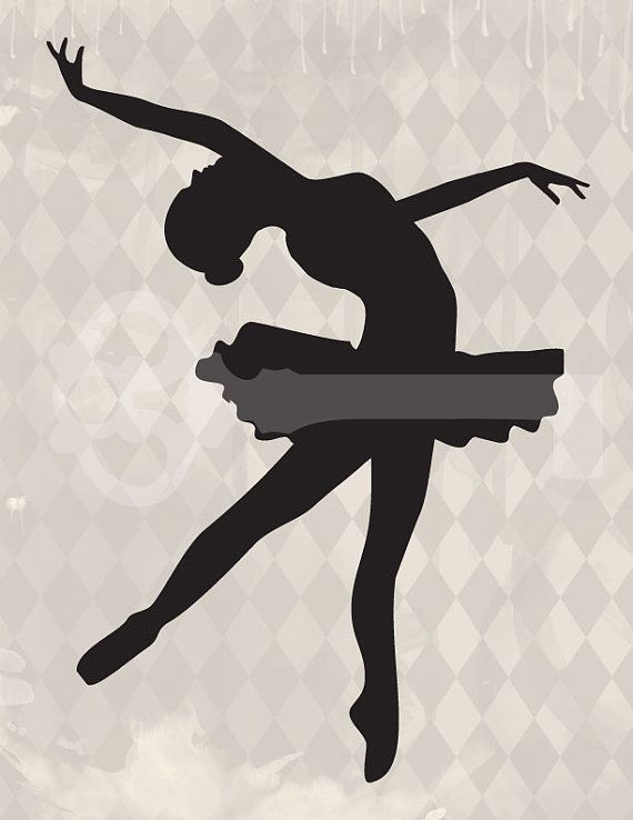 Ballerina Silhouette Graphic digital download: Image No. 386, Commercial and Personal Use, image transfer, printable artwork