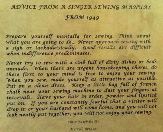 Vintage Advice from SINGER SEWING MACHINE in 1949 located in