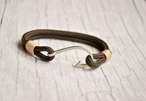 Brown fish hook mens paracord bracelet | paracord anchor bracelet | nautical bracelet | fish hook wristband | haken armband | pulsera hombre