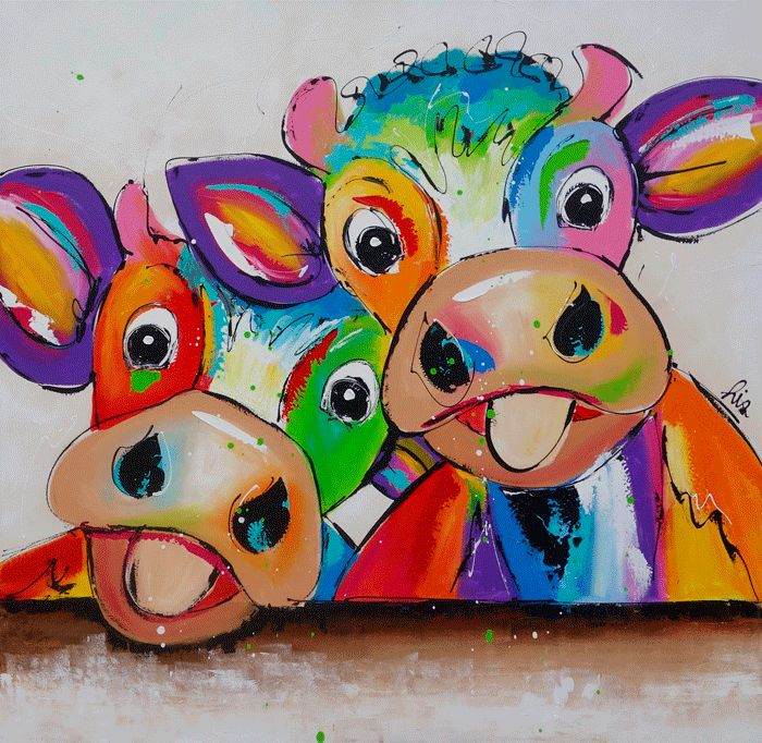 2 koeien - www.vrolijkschilderij.nl