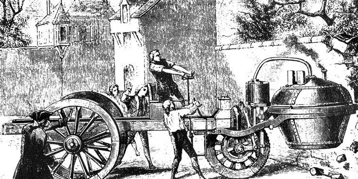 """A História do Automóvel - Carro a vapor Em 1769, Nicolas-Joseph Cugnot construiu o primeiro veículo mecânico auto-impulsionado, que passou a ser chamado de """"automóvel"""". Precisava ser parado a cada 15 minutos para permitir o resfriamento do motor a vapor.  Crédito da imagem: North Wind Picture Archive"""