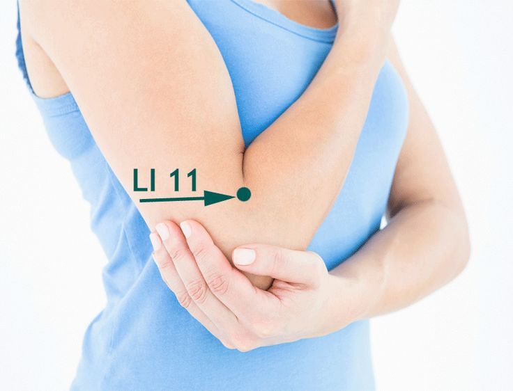 LI 11 shown at the lateral end of the elbow crease