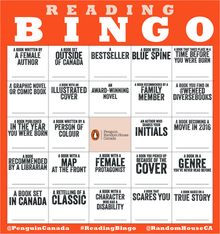 2016 Reading Bingo Challenge | Penguin Random House Canada                                                                                                                                                                                 More