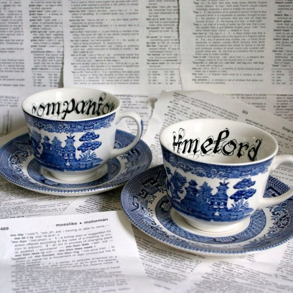 Timelord and Companion Doctor Who Blue willow and saucer