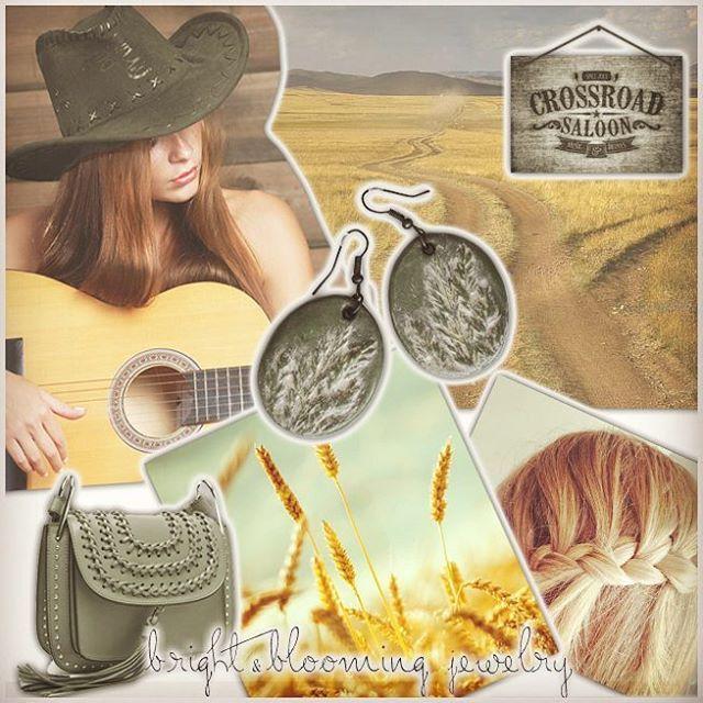 Golden fields, western winds, country music and Prairie Grass Jewelry Set... Золотые поля, западные ветра, музыка кантри и украшения с отпечатками диких трав.