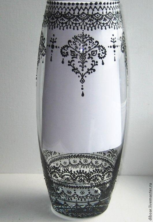 """Купить Ваза """"Мехенди"""" - ваза, ваза стекло, ваза витражная, ваза в восточном стиле"""