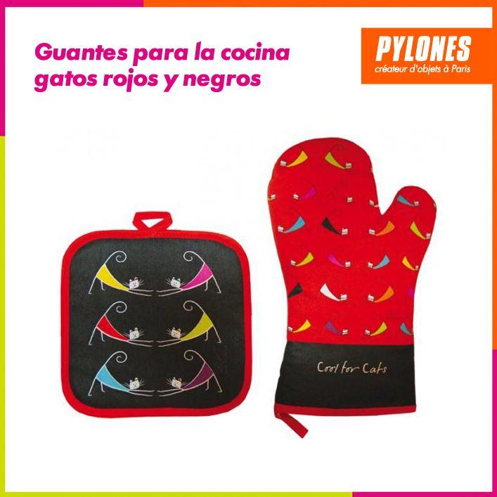 Guantes para la cocina gatos rojos y negros #Hogar #Casa #Color