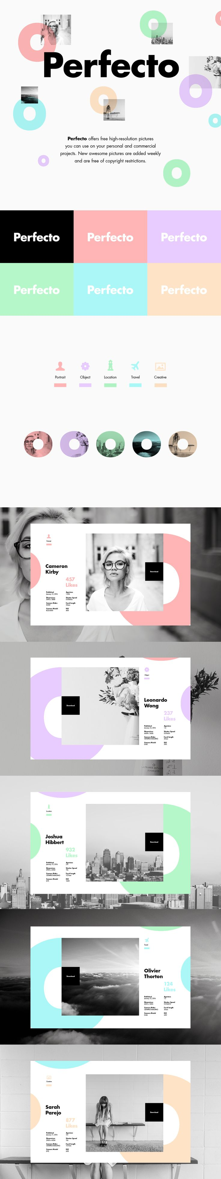 First layout for Perfecto Stock Imagery landing page. Showing some of the stock imagery category.I wanted to design a layout which would be visually attractive to the viewer and also compliment the photography (Photographer).The idea is that the image…