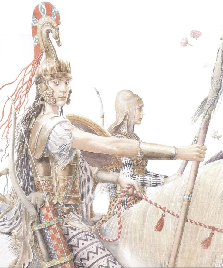 PENTHESILEA, Queen of the Amazons Arrives At Troy With Her Warrior Women To Defend The City Against The Greeks (Alan Lee/Trojan War/user: Aethon)