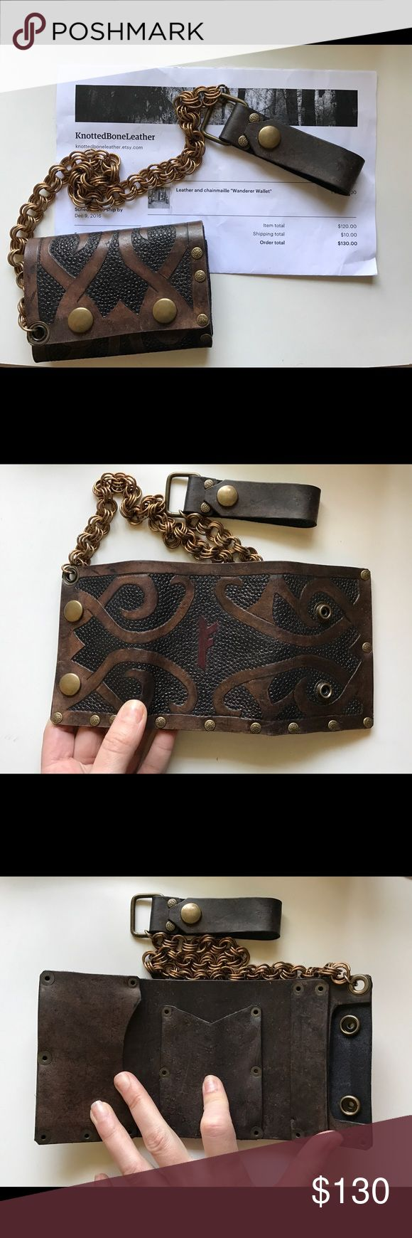 Leather Wallet with Chain 5oz steer hide wallet with antique brass chain. Custom made. Purchased as a gift, never used. Knotted Bone Leather Bags Wallets
